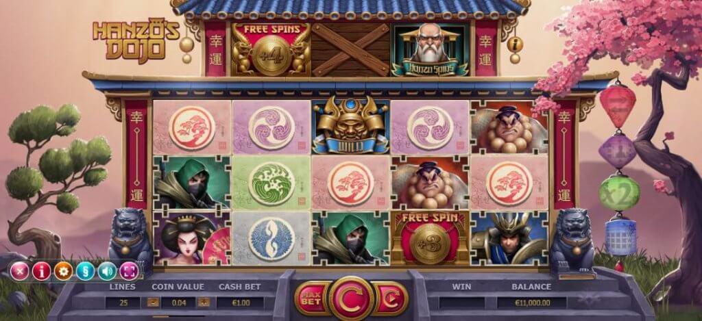 Vind op til 3000 gange din indsats med Hanzos Dojos spilleautomat