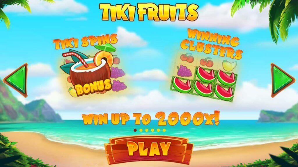 Vind op til 2000x din indsats i den nye Tiki Fruits spilleautomat